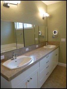Bend Oregon West Side New homes Skylight Homebuilders Shevlin Pines Master bath recessed kohler medicine cabinets