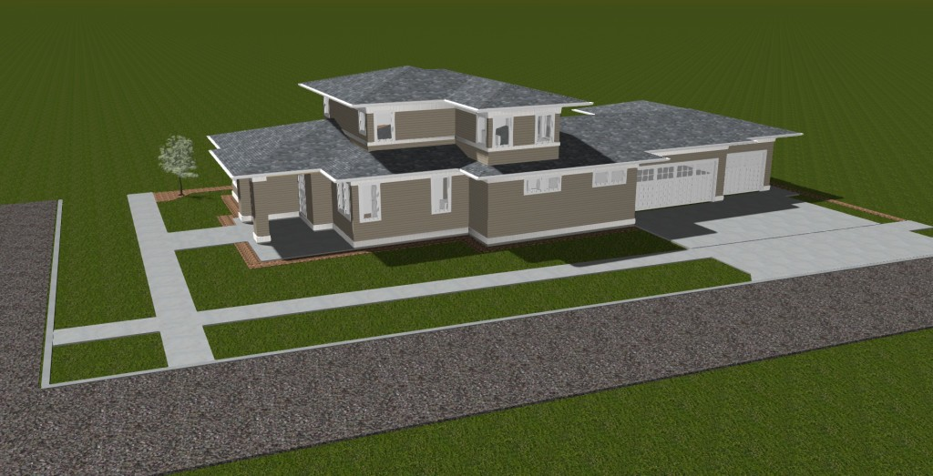 BrooksMill Lot 6 Prairie Style Master on Main Side Elevation