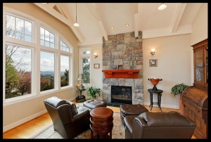 Vaulted ceiling with elegant open truss ceiling.