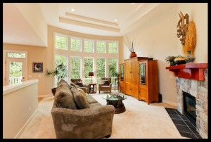 Mulit piece Bay window with cofered ceilings